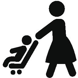 赤ちゃんベビーカー無料アイコンと歩いて母