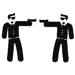 彼らの腕で互いを指す武装したギャングのカップル無料のアイコン