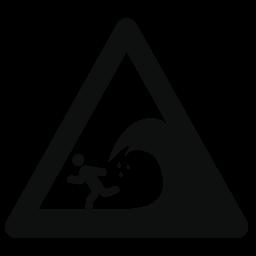 無料アイコンの大きい波の警告三角形信号
