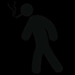 男は歩くと喫煙無料アイコン