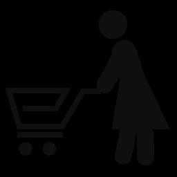 ショッピング カートの無料のアイコンを運ぶ女性