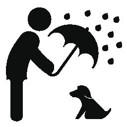 傘の無料のアイコンと雨の犬を保護する男