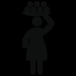 彼女の頭の無料アイコンをボールをトレイに載せて運ぶ女性