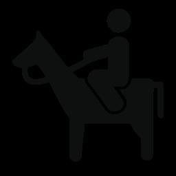 乗馬馬側表示無料アイコン男
