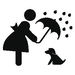 カバー雨傘無料アイコンに彼女のペットの女の子