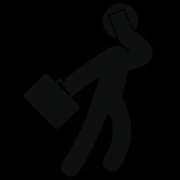ビジネスマンのスーツケースと歩いて電話無料アイコンによって話しています。