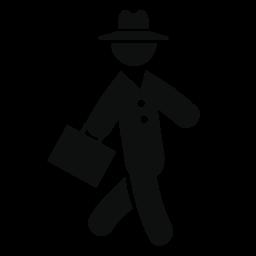 帽子とスーツケースの無料アイコンとスーツに歩くビジネスマン