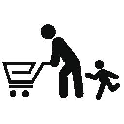 父と息子カート無料アイコンと買い物をしています。