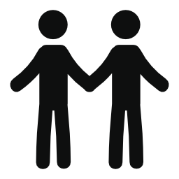 男性のカップルのシルエットの無料のアイコン