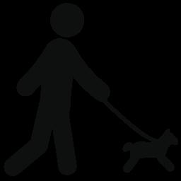 犬の無料のアイコンで歩く人