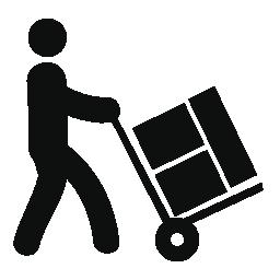 ショッピング カートの無料アイコンを持つボックスを運ぶ人