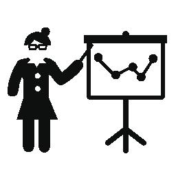 グラフの無料アイコンを教える教授