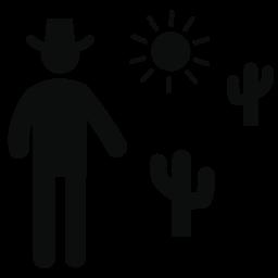 デザートのサボテンと太陽の無料アイコンとカウボーイ男のシルエット