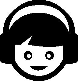 無料アイコンのヘッドフォンで聴く音楽を子供