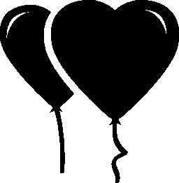 ハート形風船の無料アイコンのカップル