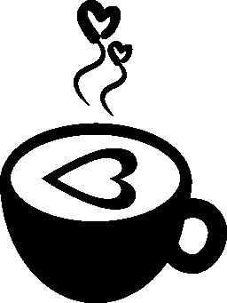 熱いコーヒー カップ愛と心の無料アイコン