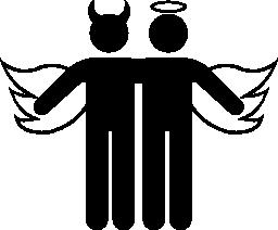 天使と悪魔一緒に無料のアイコン