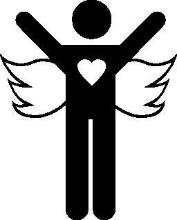 無料のアイコンを開いて腕と天使