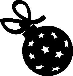 星とリボン無料アイコンと X-mas のボール