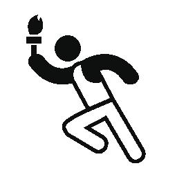 オリンピック ランナー トーチを手に無料のアイコン