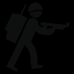 Militar 男彼と彼の袋の前で腕を歩いて戻る無料アイコン