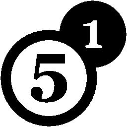 ナンバー 1 および 5 無料アイコンの硬貨