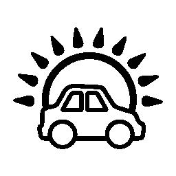 太陽の無料アイコンの前の車