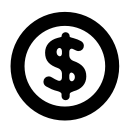 サークル無料アイコン内のドル記号