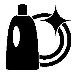 食器洗いの液体とクリーン プレート無料アイコン