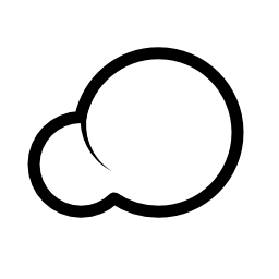 雲の形が 2 つの円の輪郭の無料アイコンによって形成されます。