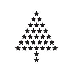 小さな fivepointed 受けて無料アイコンから成っているクリスマス ツリー