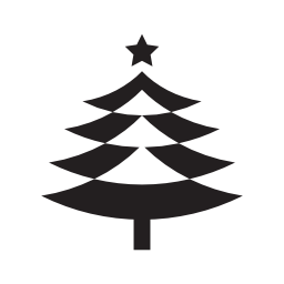 トップ無料のアイコンの 3 つ星飾りクリスマス ツリー形