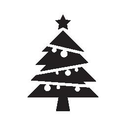 クリスマス ツリーのボールとトップの無料アイコンをスター