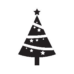 受けて無料のアイコンで飾られたクリスマス ツリー