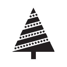 クリスマス ツリーの対角線で三角形の花輪線無料アイコン