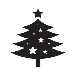 受けて無料のアイコンで飾られたクリスマス ツリー形