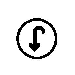 円の内側下向き矢印、IOS 7 インタ フェース シンボル無料アイコン