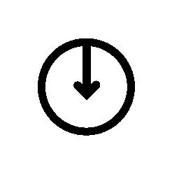ダウン、IOS 7 インタ フェース シンボル無料アイコンまでから円の中心を指す矢印