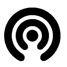 無料アイコンを中央のドットと半円形ライン
