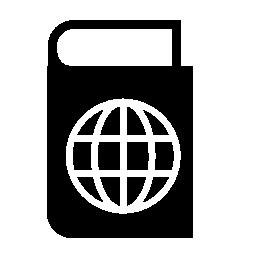 グローブ グリッド無料アイコンが付いている黒いアトラス本