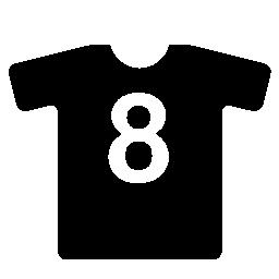 黒のラウンド ネック シャツ番号 8 白印刷無料アイコン