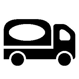 白ロゴ無料アイコンと黒の配達用トラック