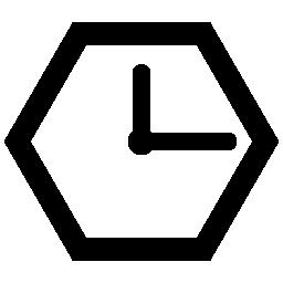 六角形の時計概要無料アイコン