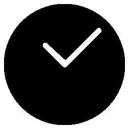 白い手無料アイコンの付いた丸い黒い時計