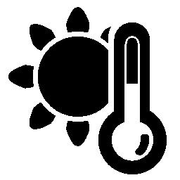 天気、太陽と温度計や気圧計の無料アイコンのシンボル