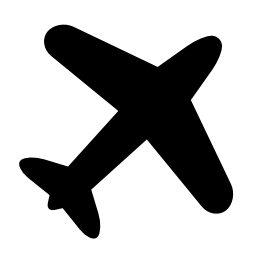飛行機黒い図形は、右上に回転無料アイコン
