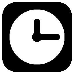 時計サークル黒で丸い正方形無料アイコン