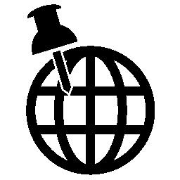 センサノードの位置推定、世界およびピンの無料アイコン