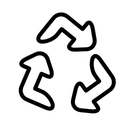 リサイクル シンボル無料のアイコンを 3 つの矢印のアウトライン