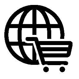 ショッピング カートの無料のアイコンを持つ円形グリッド